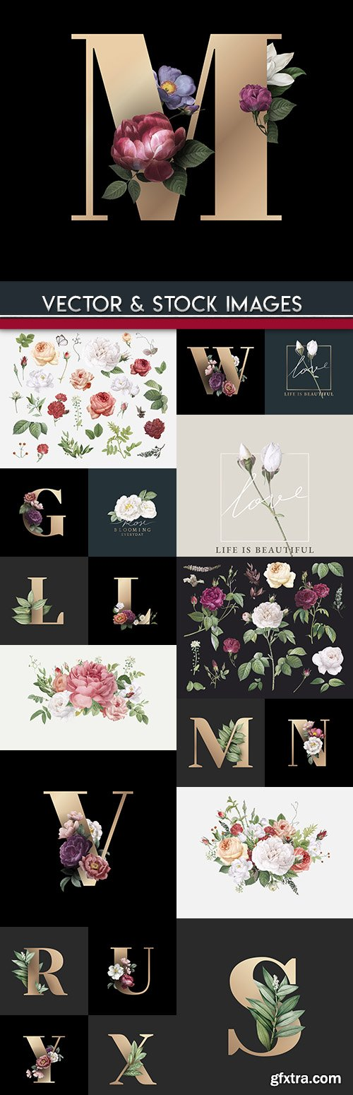 Decorative vintage alphabet with flowers and leaves