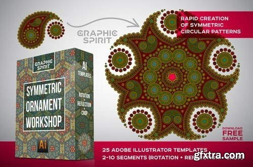 Graphic Spirit Symmetric Ornament for Adobe Illustrator