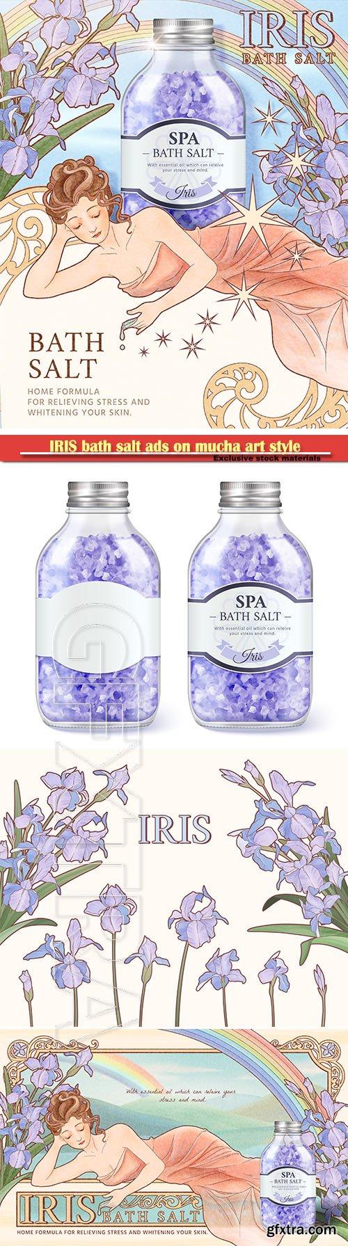IRIS bath salt ads on mucha art style background, woman side lying with purple flowers