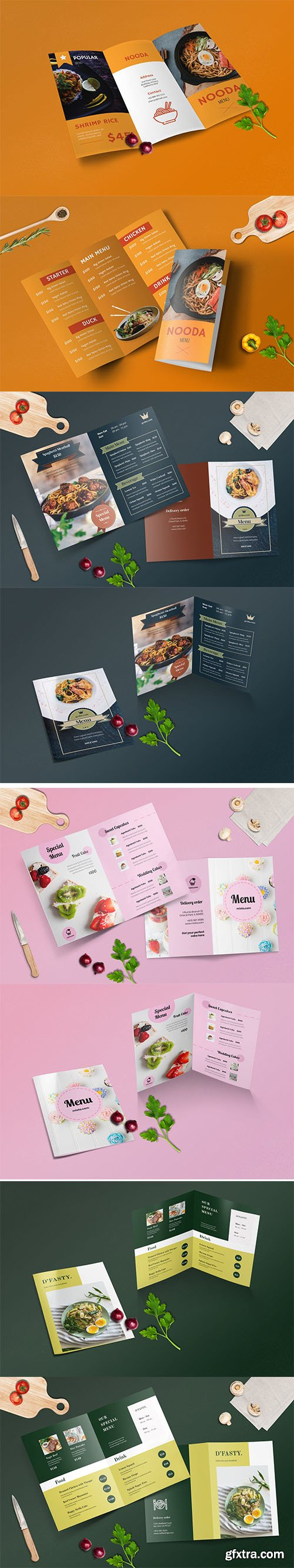 Bifold and Trifold Restaurant Menu Template Set