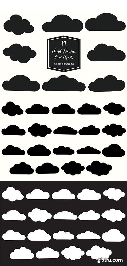 Hand Drawn Cloud Cliparts
