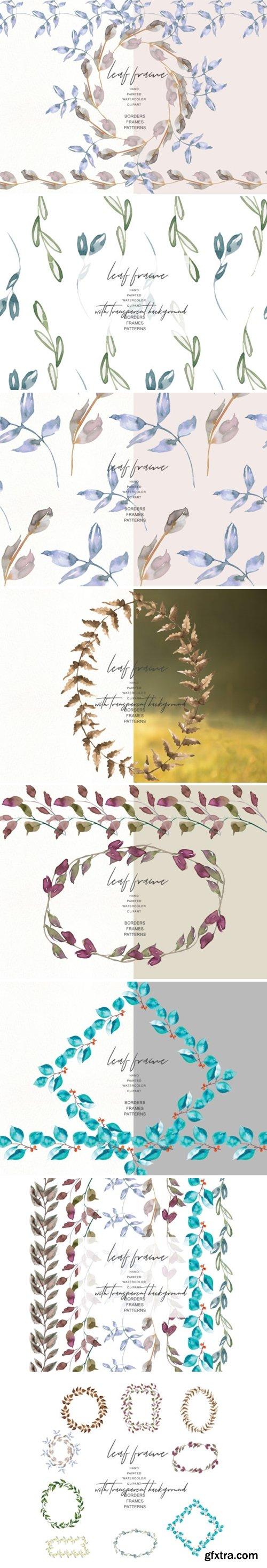 Watercolor Leaf Frames & Borders Set 1585521