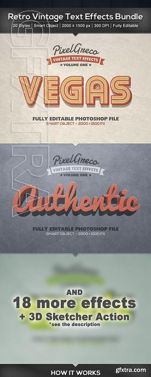 GraphicRiver - 20 Retro Vintage Text Effects Bundle + Photoshop Action 23869986