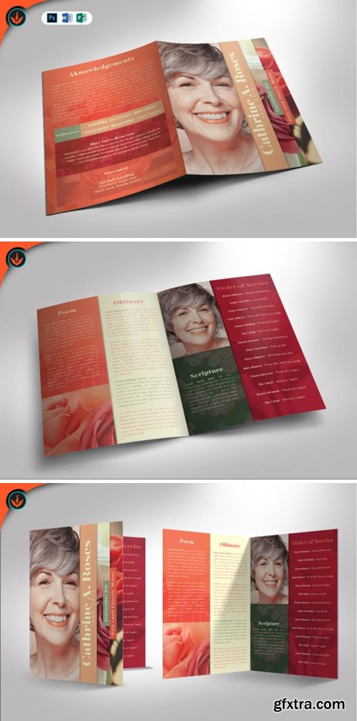 Red Rose Funeral Program Template 1589680