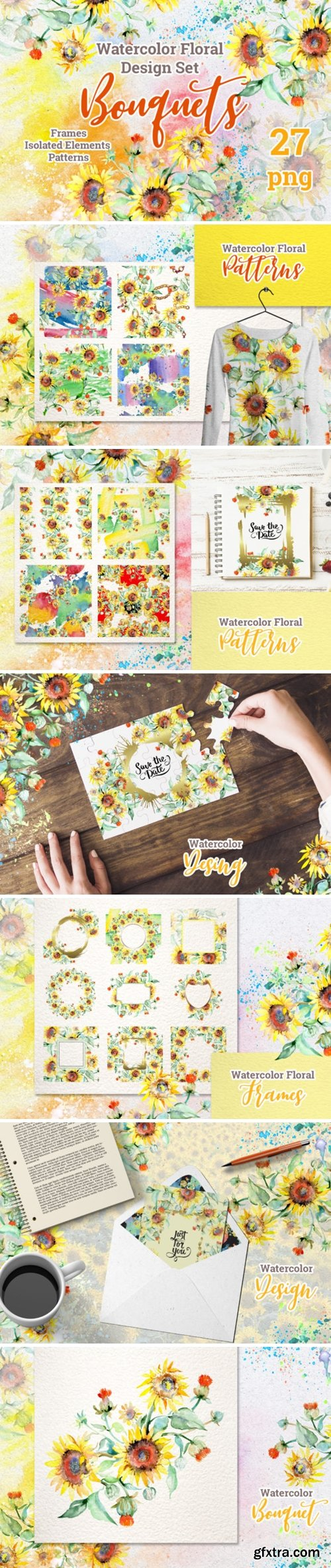 Watercolor Bouquets with Sunflowers PNG 1593462