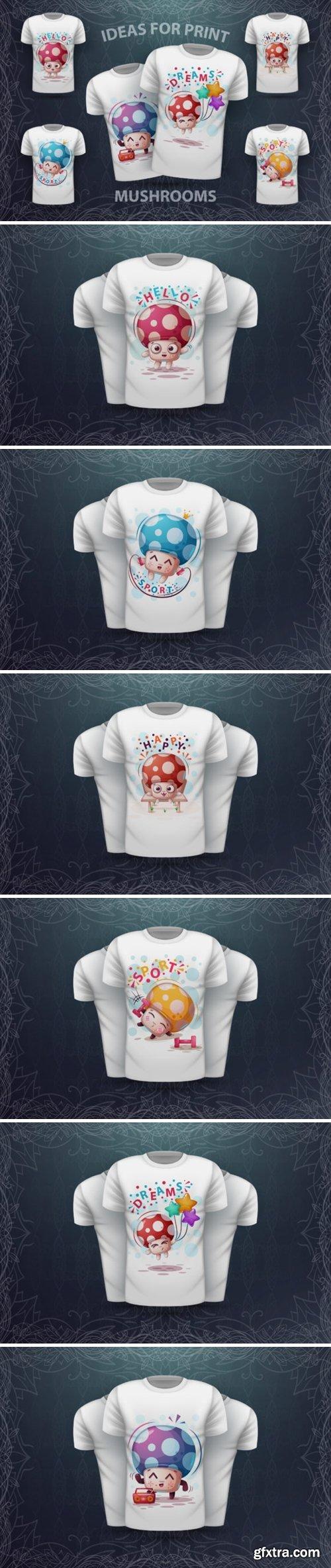 Cute Cartoon Mushrooms - Idea for Print 1593441