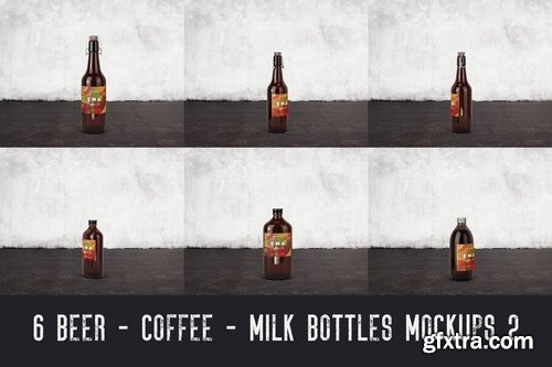6 Beer Coffee Milk Bottles Mockups 2