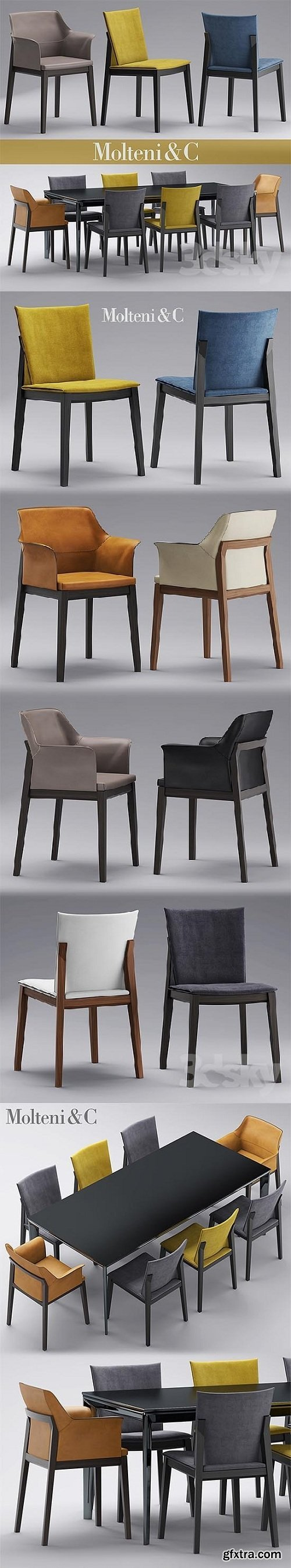 Table and chairs molteni CHAIRS BREVA, TIVAN