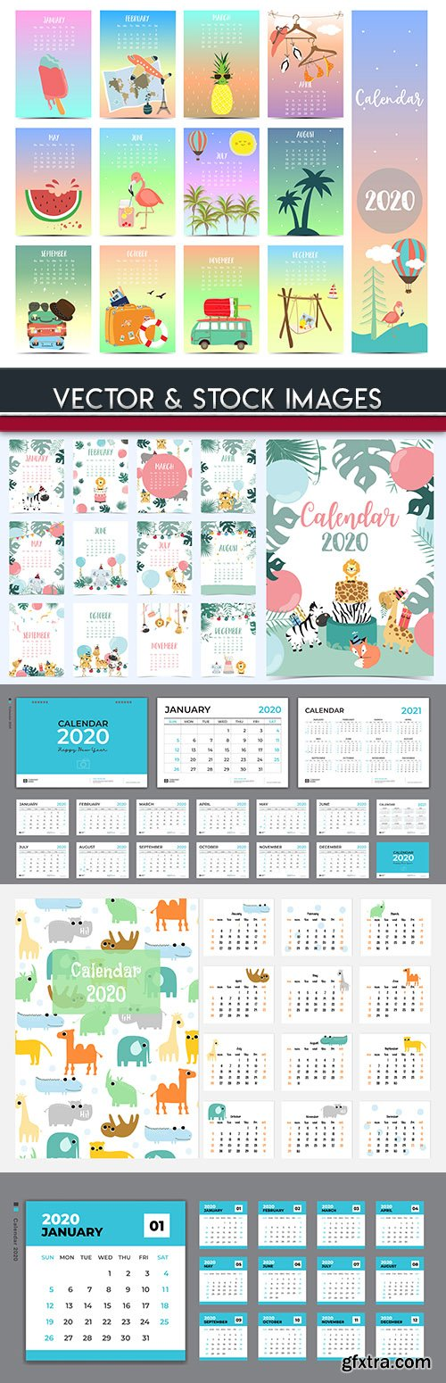 Desktop calendar 2020 template creative design