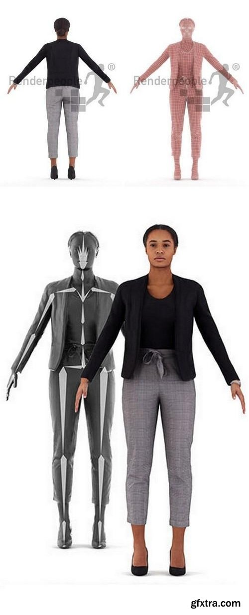 Carla Rigged Woman 3D model