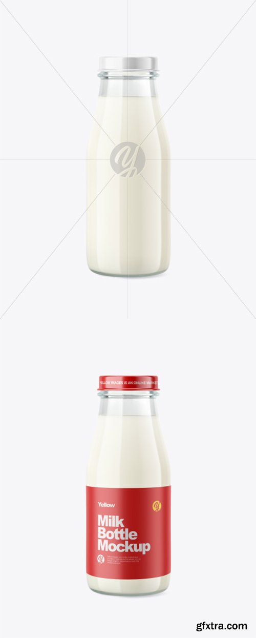 Glass Milk Bottle Mockup 39583