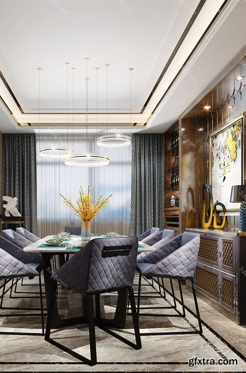 Dining Room & Kitchen Interior Scene 06 (2019)