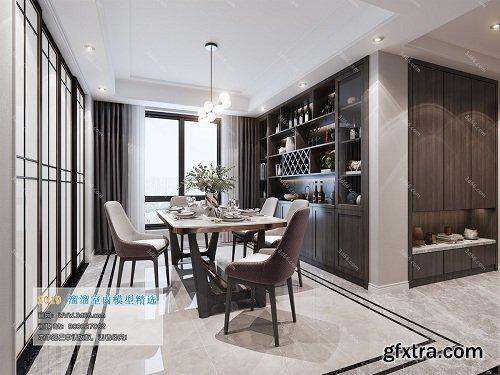 Dining Room & Kitchen Interior Scene 07 (2019)