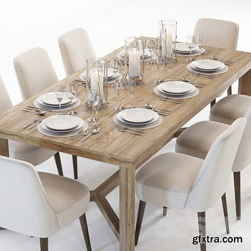 Curations Limited Gernoble & Torino table set 3D Model