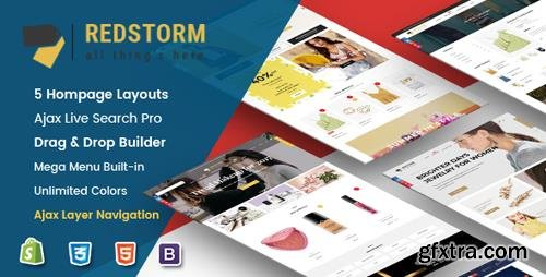 ThemeForest - RedStorm v1.0.1 - Creative Drag & Drop Sectioned Responsive Shopify Theme (Update: 9 July 19) - 21333471