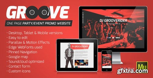 ThemeForest - Groove v1.1 - OnePage Party / Event Promo Muse Template - 7215135