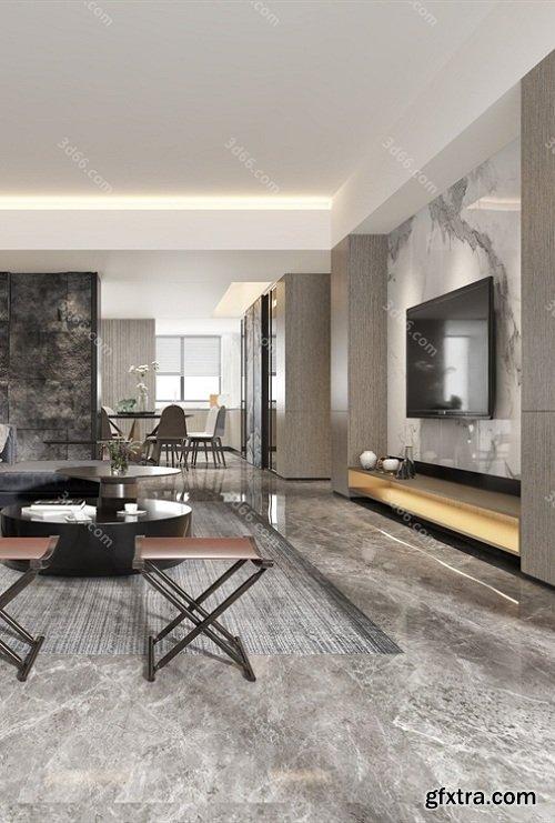 Modern Style Livingroom Interior Scene 07 (2019)