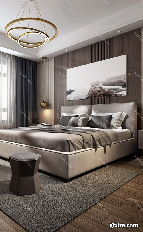 Modern Style Bedroom Interior Scene 10 (2019)