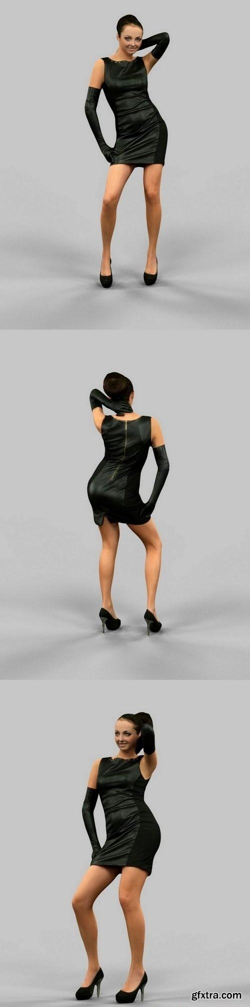 Girl in Leather dress and gloves 3D model