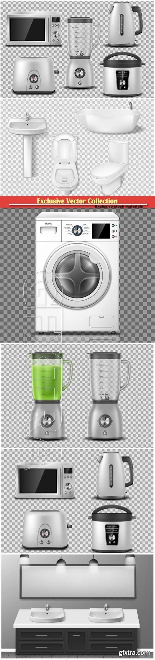 Set of household appliance, kitchen, bathroom appliances,  vector illustration