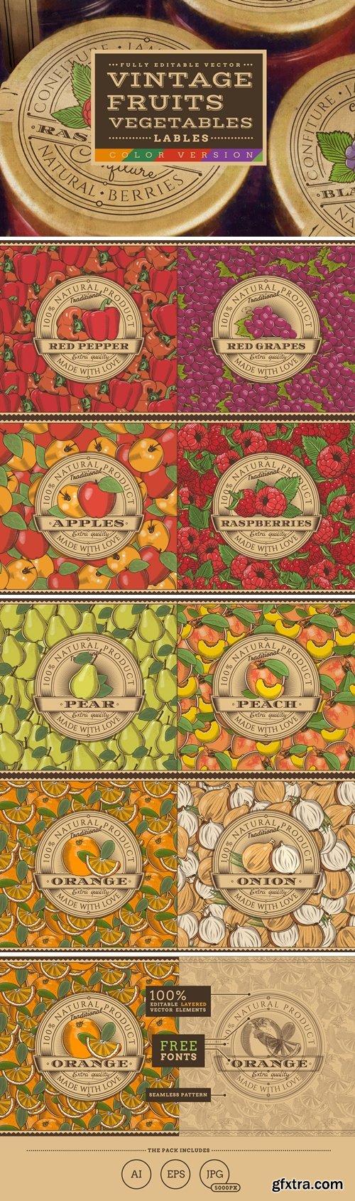Vintage Fruits & Vegetables Labels