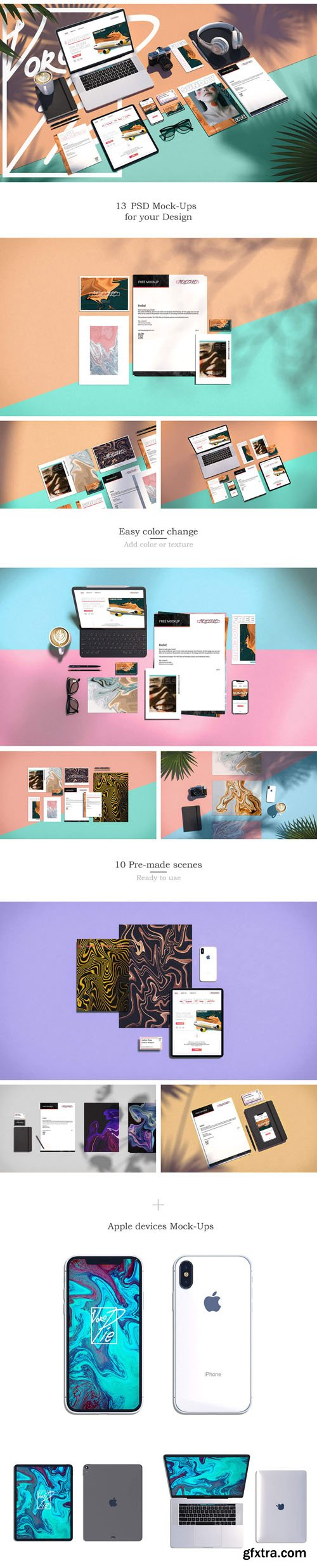 13 Pre-made Scenes PSD Mockups Collection