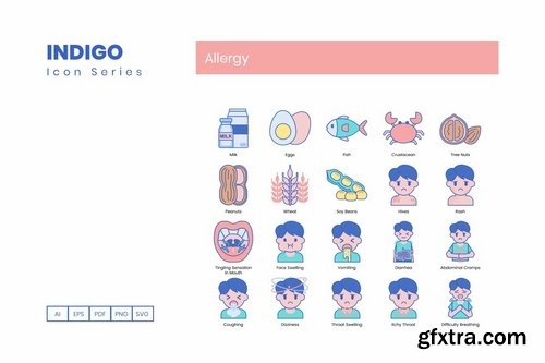 98 Allergy Icons Indigo Series (smooth)