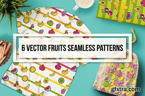 Happy Fruits Seamless Patterns