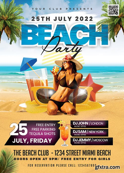 Beach Party - Premium flyer psd template