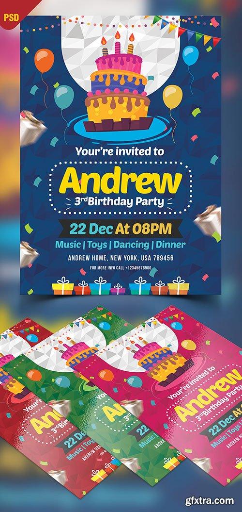 Birthday Invitation Card Design -  Flyer Template PSD
