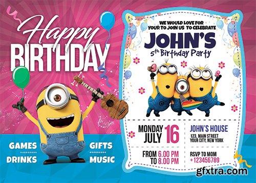 Birthday Invitation Card Template -  Flyer Template PSD