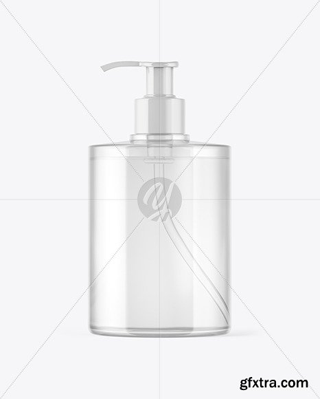 Clear Plastic Bottle with Pump Mockup 46247