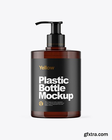 Amber Plastic Bottle with Pump Mockup 46221