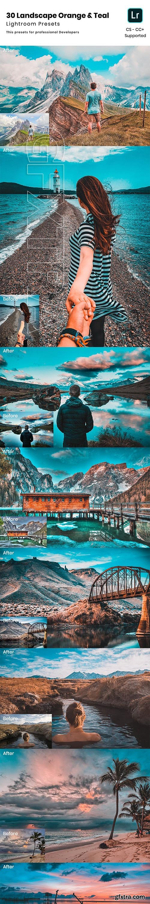 GraphicRiver - 30 Landscape Orange & Teal Lightroom Presets 24075640
