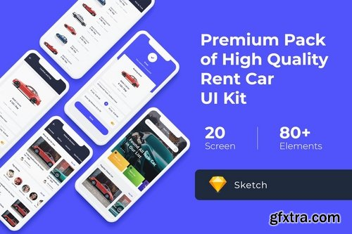 Rent Car Mobile UI KIT for Photoshop Sketch and XD