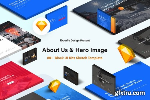 Hero Image & About Us Sketch Block UI Kits