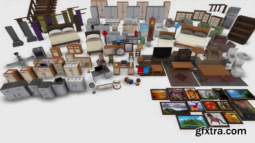 Cgtrader - Easily Interiors Full Packs Low-poly 3D model