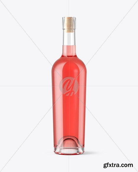 Pink Wine Bottle With Cork Mockup 46368