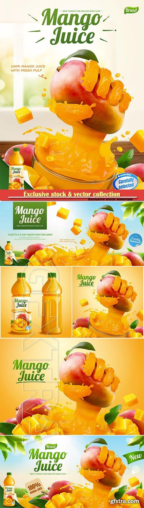 Mango juice banner ads with liquid hand grabbing fruit effect in 3d vector illustration
