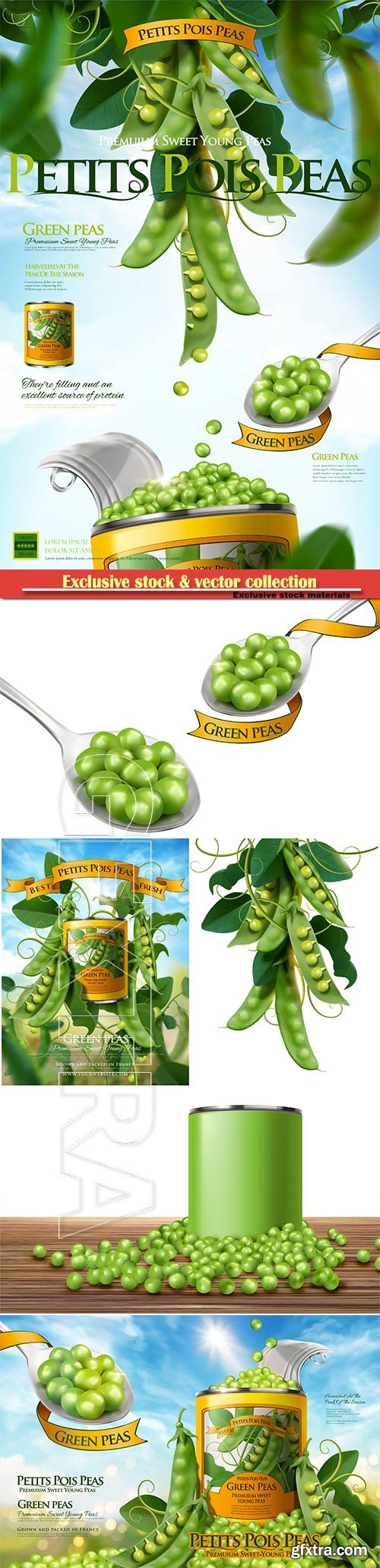Canned young peas ads poster with fresh plant in 3d vector illustration