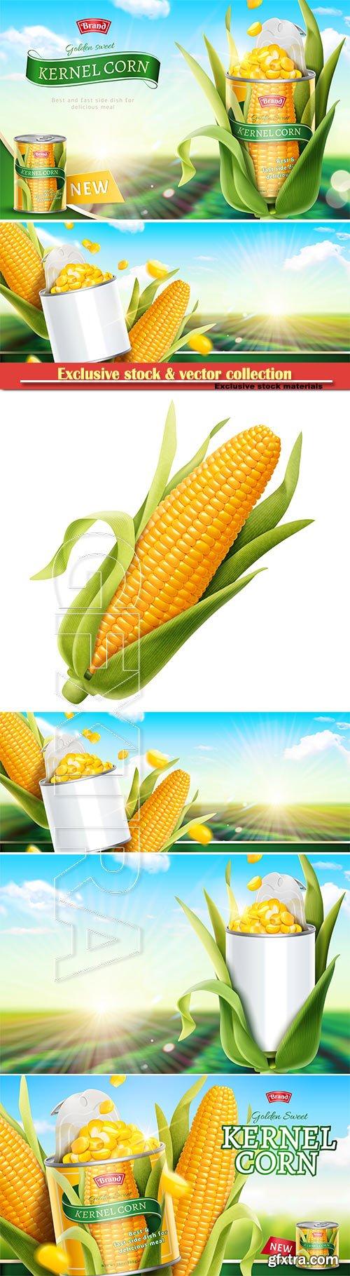 Premium kernel corn can ads in 3d vector illustration