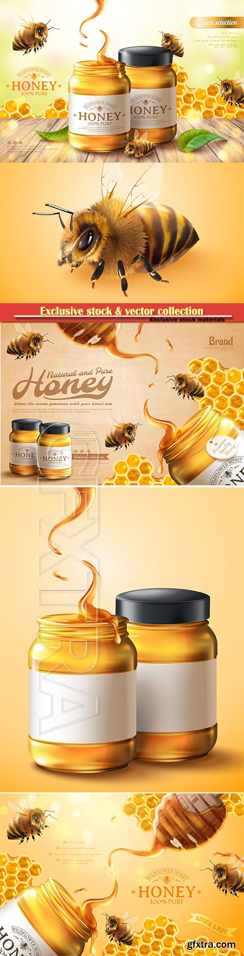 Pure honey ads with bees and honeycomb in 3d vector illustration