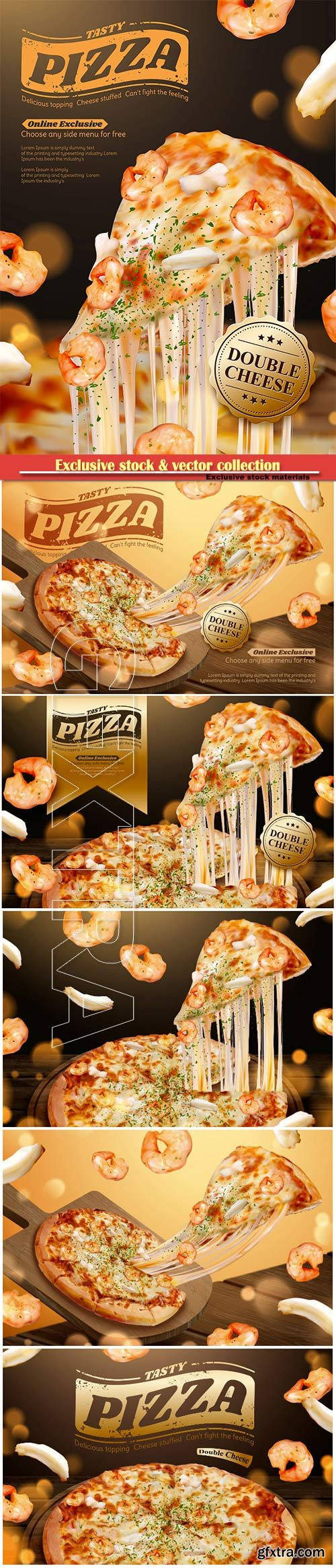 Tasty seafood pizza ads with stringy cheese in 3d illustration, shrimp and squid ring ingredients