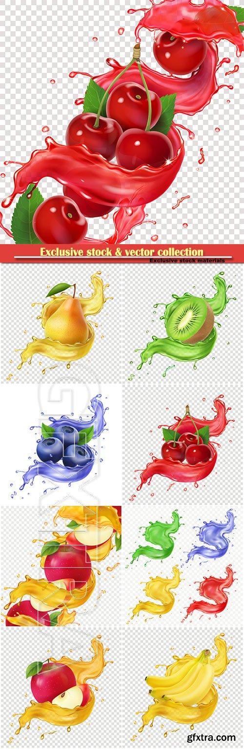 Fresh juice splash for advertising, 3d realistic vector illustration for package design