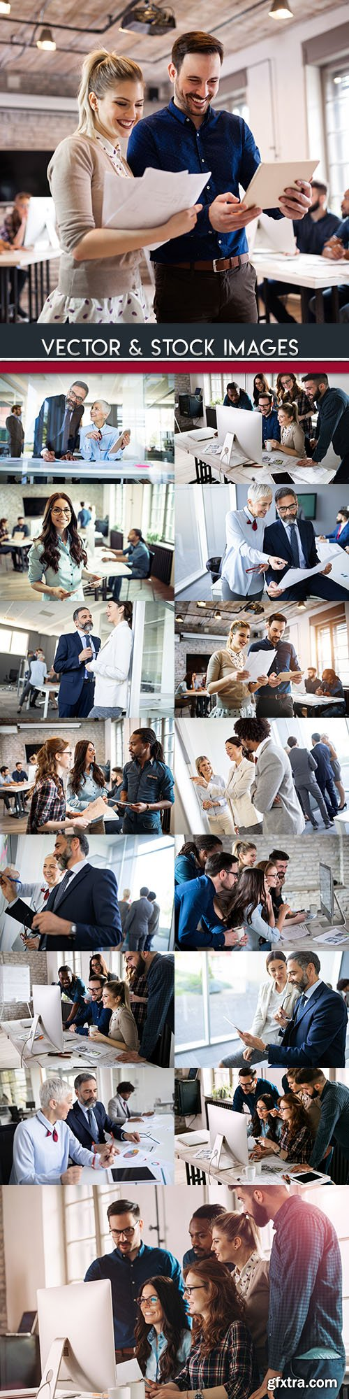 Business women and men work in young team