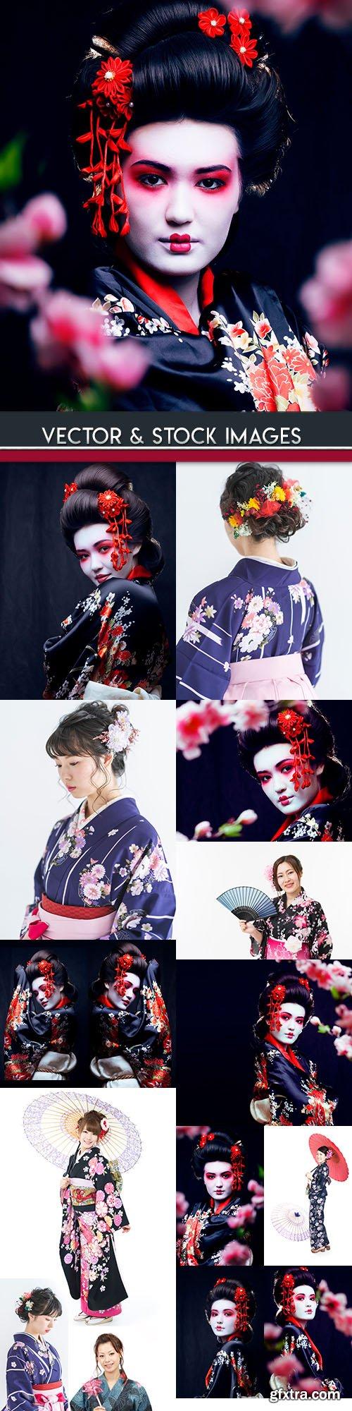 Geisha east beautiful in kimono and flowers in hair