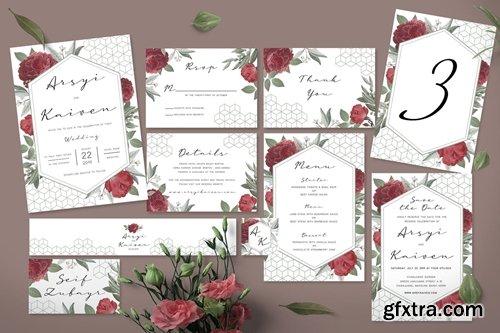 Rose Geometric Wedding Invitation