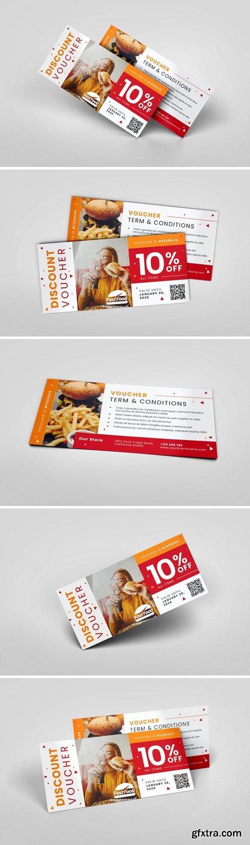 Fastfood Restaurant AI and PSD Gift Voucher