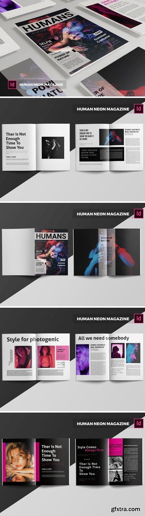Human Neon   Magazine Template