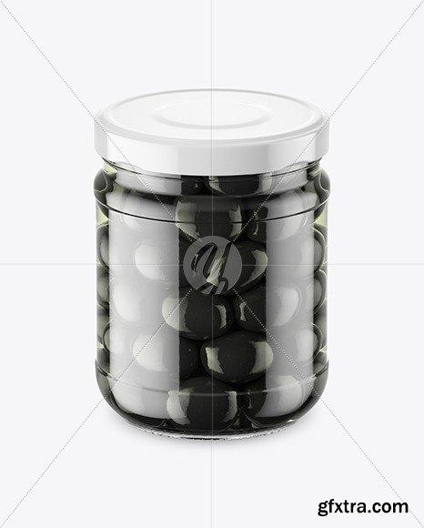 Clear Glass Jar with Black Olives Mockup 46545
